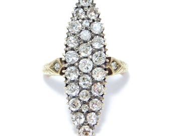 Victorian 14K Marquis 2 Carats Old Cut Diamonds Ring