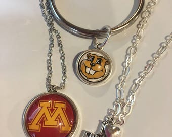 Necklace or keychain { Minnesota Golden Gophers }