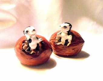 Shunk and Walnut Salt and Pepper Shakers Mid Century Retro Salt and Pepper Shakers