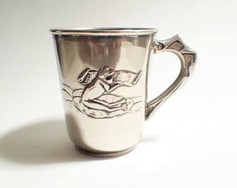 Frog ABC Banner Design Alpaca German Silver Metal Childs Christening Cup Mug