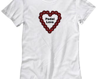 Pedal Love Funny Bicycle Shirt for Women Gift Cycling Riding Cycle Bicycling Ride Bike Chain Heart