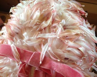 Pink vintage faux feather hat