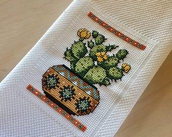 Cactus Cross Stitch Tea Towel, Kitchen Towel, Southwest Decor, Desert Decor, Cactus Gift, Cactus in a Pot, Handmade Towel