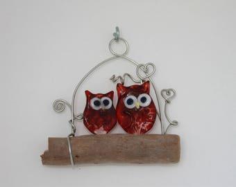Glass Owl Wall Art, 2 Ruby Owls