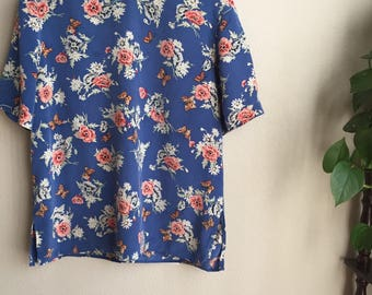 vintage floral butterfly silk blouse