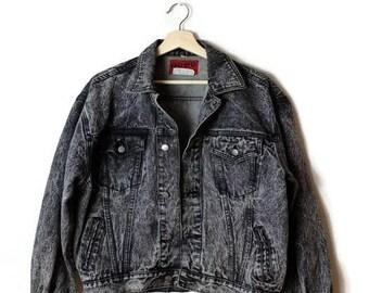 Damaged Vintage Grey/Black Acid Wash Denim Jacket /Grunge/pepe jeans*
