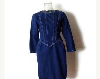 ON SALE Vintage Denim Long Sleeve Dress from 1980's*