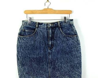 ON SALE Vintage High waist Acid wash Denim Mini Skirt from 1980's*