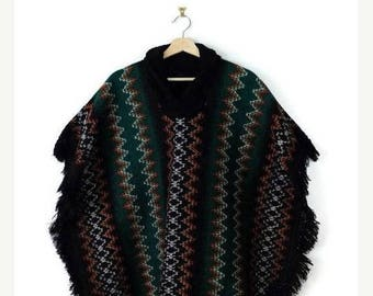 WINTER SALE 20% OFF Vintage Green/Colorful Zig Zag Stripe Fringed Poncho from 70's*