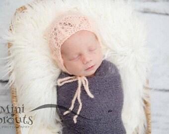 Peach Binnet, Newborn Bonnet ,Peach Baby Hat,Newborn photo prop bonnet