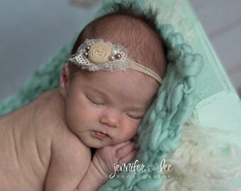 Cream Beige Peach Headband,Newborn nylon headband,Beige peach ivory photo prop, Dainty baby photo prop