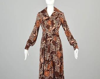 SALE Small Loose Bohemian Dress with Long Sleeves La Mendola Italy Silk Boho Dress Brown Print Knee Length Vintage 1970s 70s