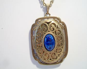 Vintage Ornate Avon Locket Pendant Necklace Lapis Filigree Signed Costume Jewelry Wedding Bride