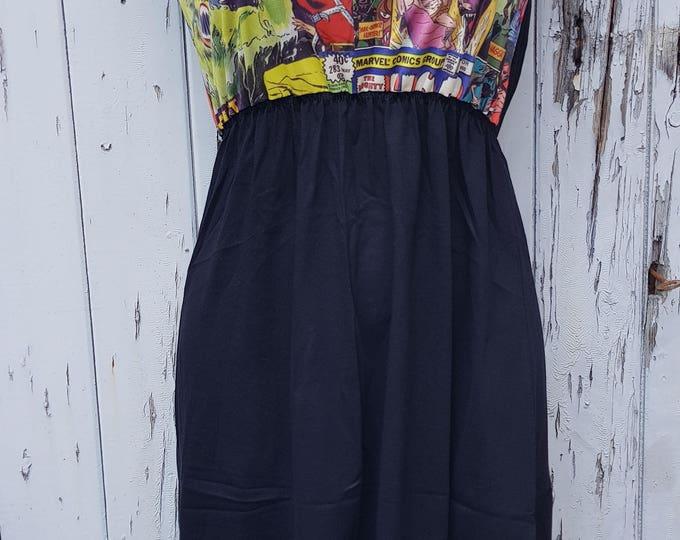 Comic Book Black Skater Dress - Size 10 12 14 - Geek Chic Superhero Rockabilly