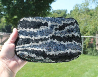 Black, White and Gray Beaded Evening Bag / Clutch / Purse - Formal - Prom - Wedding - Jeans Purse