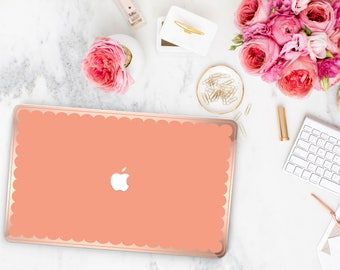 Sun Kissed and Scallop Rose Gold Edge Hybrid Hard Case for Apple Mac Air & Mac Retina , New Macbook 2016 - Platinum Edition
