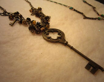 Large antiqued brass key pendant charm necklace
