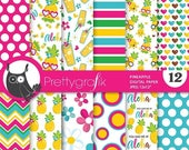 80% OFF SALE Pineapple digital paper, commercial use, pineapples scrapbook papers, summer background, hawaii  - PS862