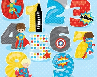 80% OFF SALE Superhero numbers clipart, clipart commercial use, vector graphics, digital clip art, digital images - CL906