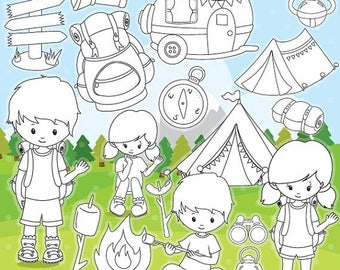 80% OFF SALE Camping digital stamp commercial use, camping kids vector graphics, digital stamp, digital images - DS993
