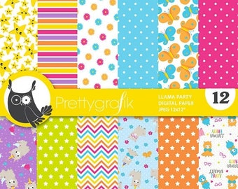 80% OFF SALE Party llamas digital papers, commercial use, scrapbook papers, background - PS864