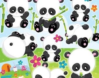 80% OFF SALE Panda clipart commercial use, baby panda vector graphics, panda bear digital clip art, asian digital images  - CL960