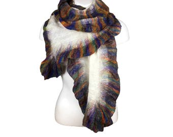 Wool and silk scarf, nuno felted, ruffle scarf, merino wool, fashion scarf, womens accessory, white with multicoloured ruffle border