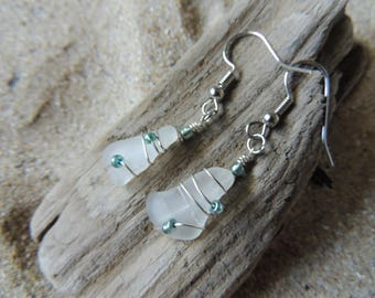 Handmade Natural Authentic White Sea Glass Earrings Wire Wrapped with Blue Accents