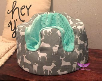 Grey and White Deer and Mint Minky Bumbo Cover