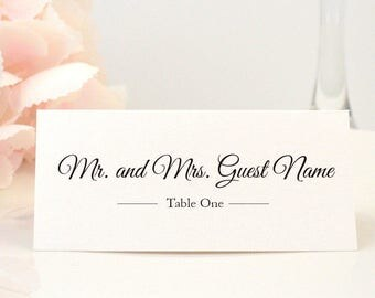 PRINTED Place Card, Escort Card, Table Card, Name Card, Folded, Ivory, Script, Calligraphy, Brown, Bronze, ELEGANT Script Design