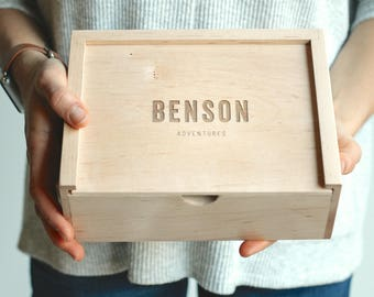 Wooden Box, Keepsake Box, Engraved Box, Baby Keepsake Box, Wedding Card Box, Personalized Gift, Gift for New Dad, Wooden Photo Box, Card Box