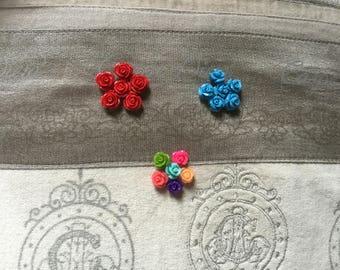 6 Pcs. Resin Rose Flower Plastic Bead