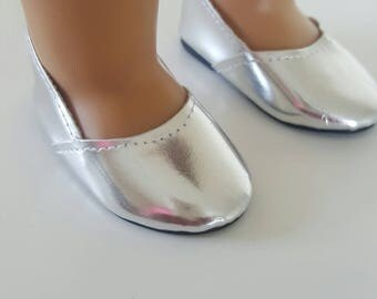 Silver Slip On shoes for 18 inch dolls by The Glam Doll