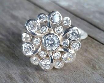 White flower  multi stone cluster ladies boho dress ring sterling silver