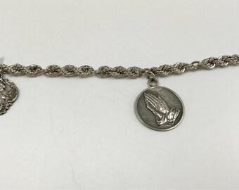 Vintage 925 Twisted  Sterling Silver Chain  Charm Bracelet !!!!