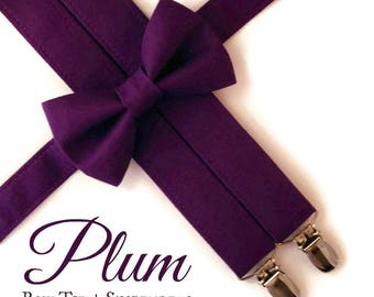 Plum Bow Tie and Suspenders:  Purple Suspenders, Toddler Suspenders, Boys Suspenders, Purple Bow Tie, Midnight, Plum, Ring Bearer