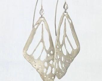 Monarch butterfly wing dangling sterling silver handmade statement earrings