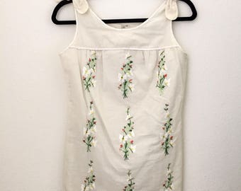 1970s Dotted Swiss Embroidered Mini Dress