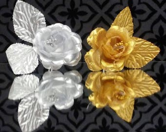 Gold or Silver Roses Organza Craft Project Flowers Favors Craft Supplies 12 Ct