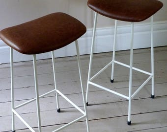 Pair of Vintage Leather Bar Stools  c. 1960