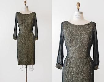 Portofino Dress / 1960s metallic brocade wiggle dress / vintage sparkle dress