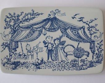 Rare! Wiinblad for Nymølle - Chambre Séparée - rectangular plate / wall tile - blue & white - Danish mid century pottery