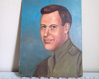 American Army Soldier Painting WWII USA Portrait Original