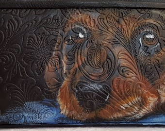 Leather Wristlet with a hand painted portrait of 'Rachel' a Dachshund