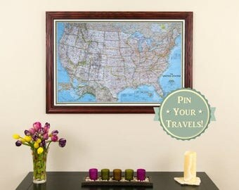 Holiday Sale Off Personalized Executive US Travel Map With - Us map detailed