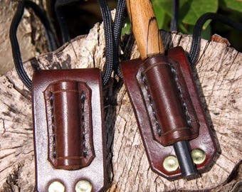Hand-made hand-stitched leather firesteel / ferro rod holder - neck & belt-carry