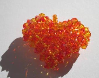 1 big heart in 38mm approximately (C3) swarovski crystal bicone-