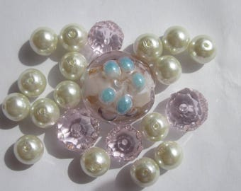 """21 round glass beads 8 """"pink and white"""" idea and 20 mm (PV45)"""