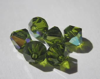 6 genuine swarovski 6 mm Crystal bicones - green olivine AB (68)