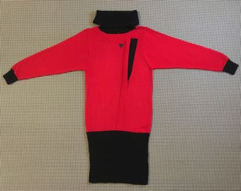 1980's, turtleneck, sweater dress, in red and black, Women's size Medium